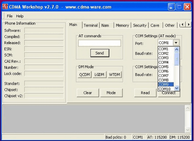 CDMA Workshop Tool main tab - COM Port