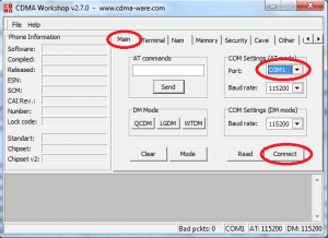 EC156 unlock modem - main tab for COM port