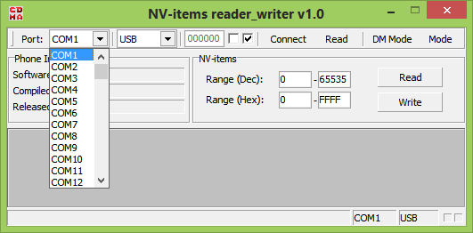 NV Item reader writer software - main menu