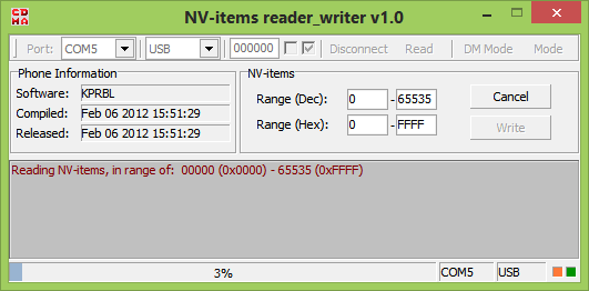 NV Items reader writer v1.0