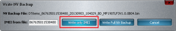 Select only IMEI of ZTE Modem Dongle