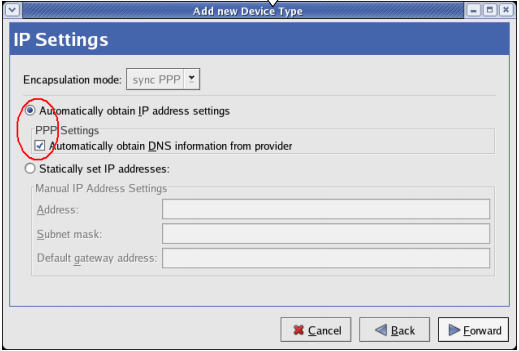 IP Settings - Linux Dial Up Connection