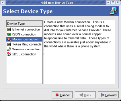 Select Device Type - Huawei Dialup