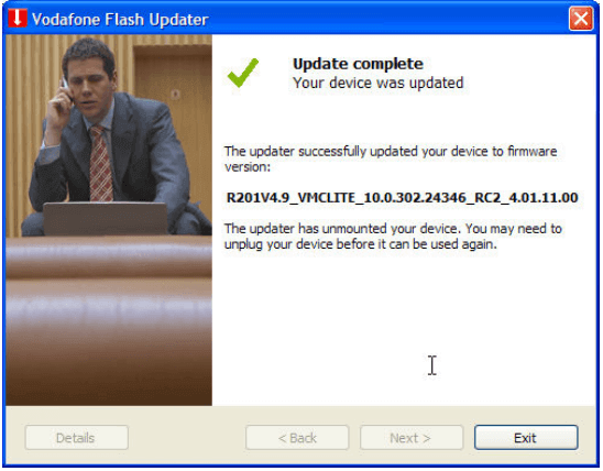 Vodafone Flash Updater - Update Complete