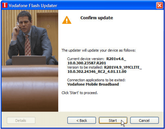 Vodaofne Flash Updater - Start