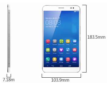 Dimension of Huawei MediaPad X1 7.0 tablet