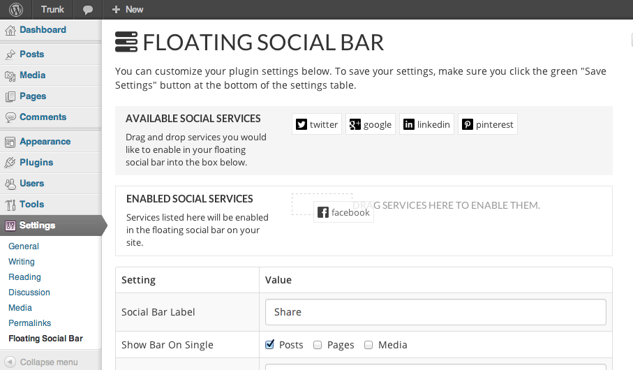 Floating Soical Bar - dragging