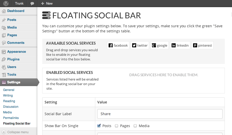 Floating social bar -choose