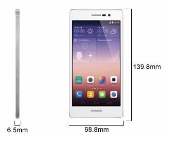 Huawei Ascend P7 Android KitKat 13 MP SmartPhone Dimension