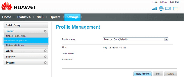 Huawei E5220 profile management