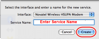 Novatel Installation - Create new service