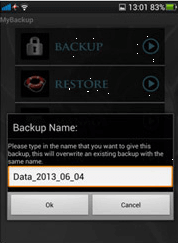 Write the folder name of the backup