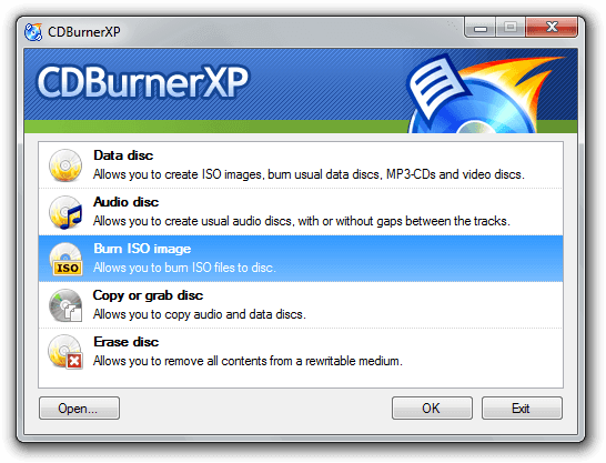 CDBurnerXP - a freeware program to burn the CDs and DVDs