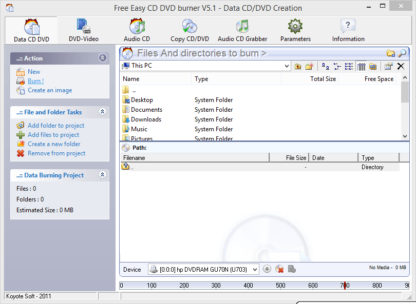 Kayote Free CD DVD Burner Freeware Tool