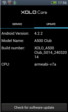 Xolo A500 Club - Check for software update