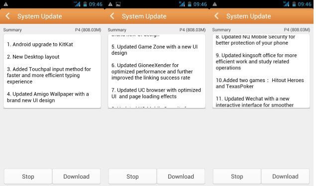 Gionee Pioneer P4 Android 4.4 KitKat Update