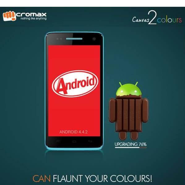 Micromax Canvas 2 Colours A120 Android 4.4 KitKat update