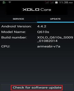 Check for software update - Xolo Q610s