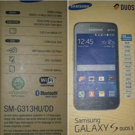 Samsung Galaxy S Duos 3 Leaked Image