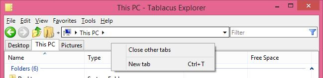 Right Click on Tablacus Explorer