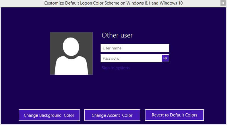 Customize Default Logon Color Scheme on Windows 8.1 and Windows 10