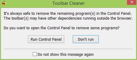 Toolbar Cleaner - Run Control Panel