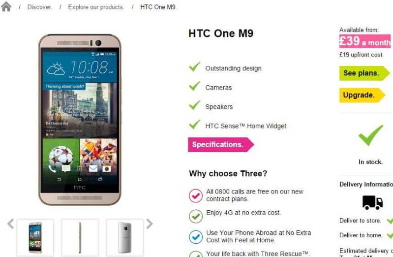 HTC One (M9) Pre-order from Three UK