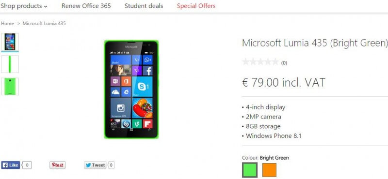 Microsoft Lumia 435 in Ireland