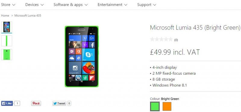 Microsoft Lumia 435 in UK
