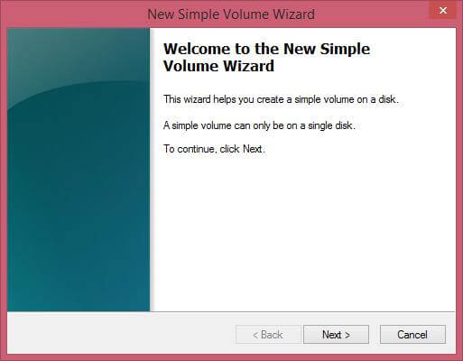 New Simple Volume Wizard