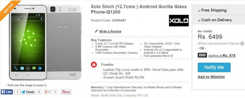 Xolo Q1200 offers