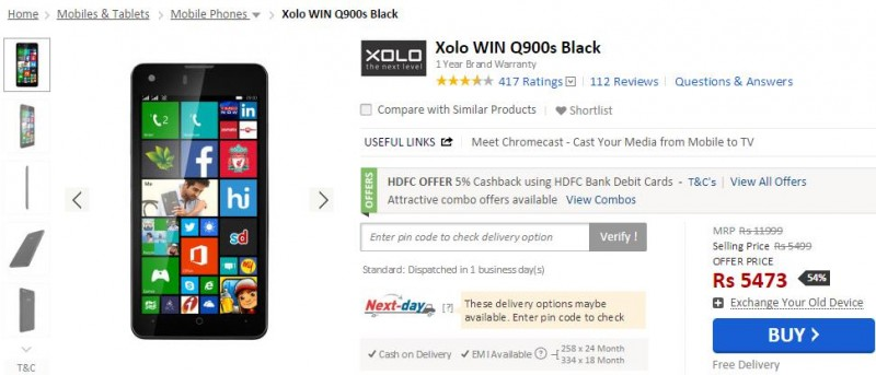 Xolo Win Q900s Price Cut