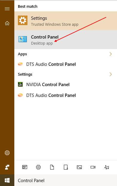 Control Panel search