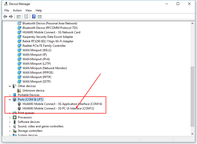 Executing AT-commands under Windows