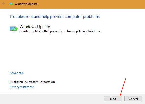 Windows Update troubleshooter - Next