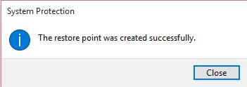 restore-point-was-created-successfully